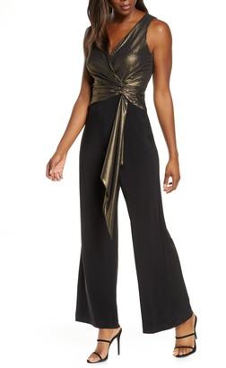 Taylor Dresses Metallic Bodice Mix Media Faux Wrap Jumpsuit
