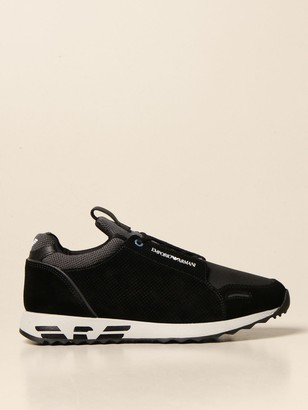 Emporio Armani Sneakers In Perforated Suede