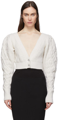 Wandering Off-White Cable Knit Cropped Cardigan