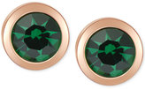 T Tahari Gold-Tone Emerald Stone Stud Earrings