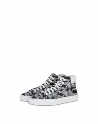 Moschino Calfskin High Sneakers Warped Logo