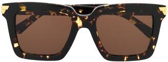 Bottega Veneta square frame tortoise-shell sunglasses