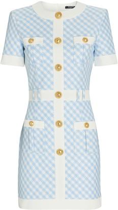 Balmain Gingham Button-Front Mini Dress