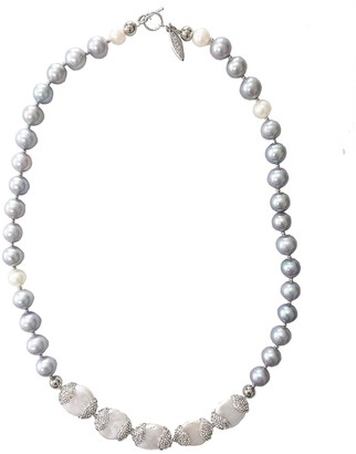 Farra White & Gray Freshwater Pearls Short Necklace