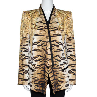 Roberto Cavalli Beige Animal Print Silk Tailored Blazer L