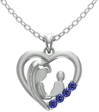 Essence Jewelry Country Of Tanzanite Sterling Silver Round Short Pendent by Essence Jewelry