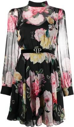 Philipp Plein Floral Belted Dress