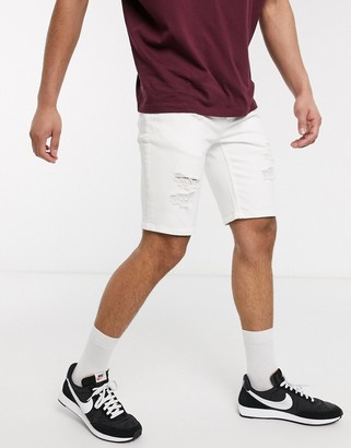Topman skinny denim shorts with rips in white