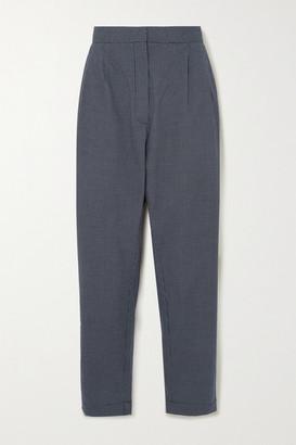 MATIN Pleated Checked Cotton-poplin Pants - Black