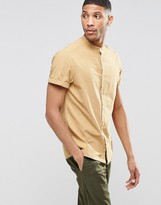 Asos Laundered Shirt In Camel With Grandad Collar In Short Sleeve