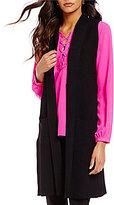 Gibson & Latimer Open Neck Sleeveless Knit Open Front Cardigan