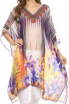 Sakkas KF5033A - ShortCaftan Mimi Short Caftan Semi Sheer Moroccan Printed Pattern Dress / Cover Up - OS