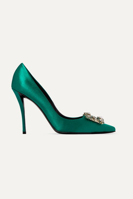 Roger Vivier Flower Crystal-embellished Satin Pumps - Emerald