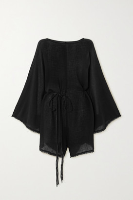 CARAVANA + Net Sustain Nikab Suede-trimmed Fringed Cotton-gauze Jumpsuit - Black