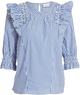 Tanya Taylor Pilar Striped Ruffle-Trim Top