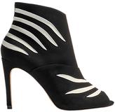 Karen Millen Striped Stiletto Heeled Shoe Boots, Black/White