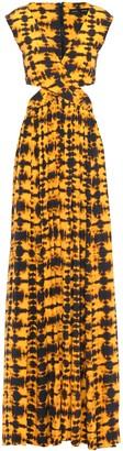 Proenza Schouler Cutout Gathered Tie-dyed Crepe De Chine Maxi Dress