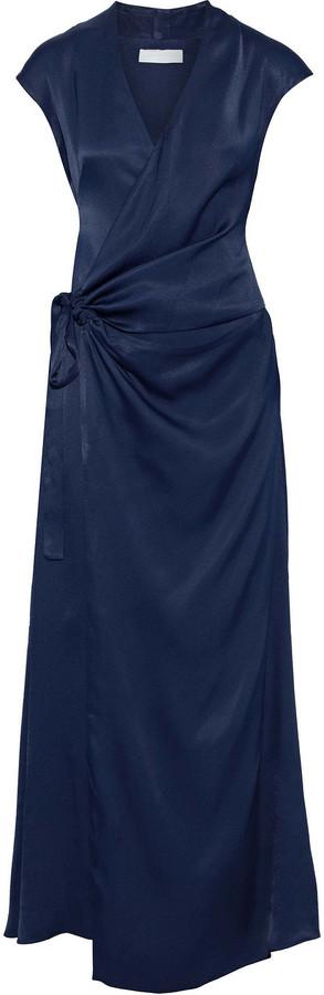 Les Héroïnes The Elizabeth Ruched Satin Wrap Gown