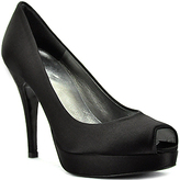 Stuart Weitzman Evening - France - Black Satin Platform Open Toe Pump