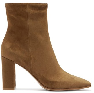 Gianvito Rossi Square-toe 85 Suede Ankle Boots - Brown