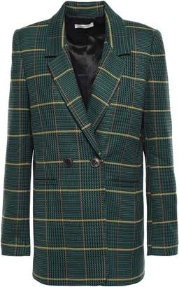 Anine Bing Double-breasted Checked Woven Blazer