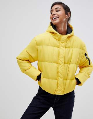 Brave Soul karen padded jacket with hood-Yellow