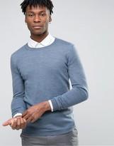 Asos Muscle Fit Crew Neck Sweater in Merino Wool