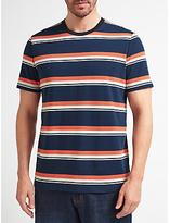 John Lewis Slub Stripe Crew Neck T-shirt, Navy