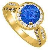 LoveBrightJewelry Beautiful Jewelry Gift Created Sapphire and CZ Ring 1.75 TGW