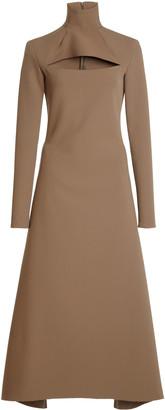 A.W.A.K.E. Mode Cutout Stretch-Crepe Turtleneck Midi Dress