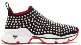 Christian Louboutin Spiky Sock Crystal-studded Neoprene Trainers - Black