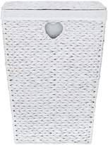 Very White Heart Lidded Laundry Hamper