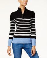Karen Scott Cotton Striped Zip-Up Sweater, Created for Macy's