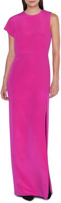 Akris One-Sleeve Silk Jersey Column Gown Dress