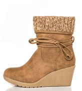 Quiz Taupe Knit Ankle Trim Wedge Boots