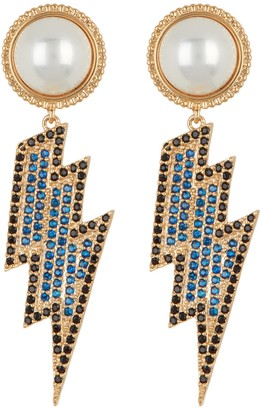 Light Up My World Faux Pearl CZ Crystal Hang Earring