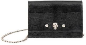 Alexander McQueen Small Skull Lizard-Embossed Leather Crossbody Bag