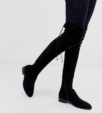 ASOS DESIGN Kayden petite flat thigh high boots in black