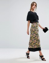 Warehouse Floral Print Contrast Maxi Skirt