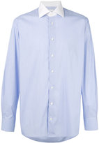 Hardy Amies contrast collar striped shirt