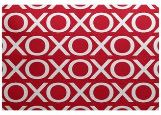 The Holiday Aisle Valentine's Day Flatweave Red Rug Rug Size: Rectangle 2' x 3'