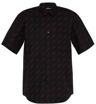 Balenciaga Logo-print Short-sleeved Cotton-poplin Shirt - Mens - Black Red