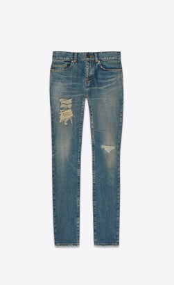 Saint Laurent Distressed Skinny Jeans In Dirty Sandy Blue Dirty Sandy Blue 27