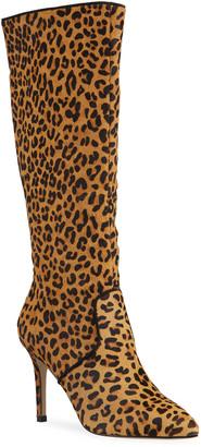 Allegra James Kelley Leopard-Print Fur Knee Boots