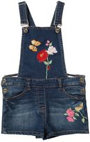 MonnaLisa Embroidered Cotton Denim Overall Shorts