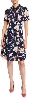 Maggy London Bow-Collar Printed Dress