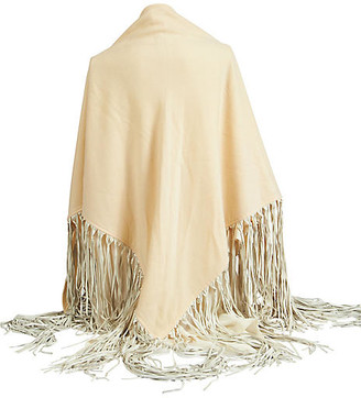 One Kings Lane Vintage Hermes Cream Cashmere/Leather Shawl - Vintage Lux