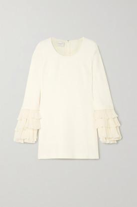 Giambattista Valli Ruffled Plisse-silk And Cady Mini Dress - Ivory