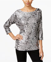 INC International Concepts Zip-Shoulder Animal-Print Top, Only at Macy's