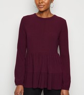 New Look Tiered Peplum Hem Ribbed Top